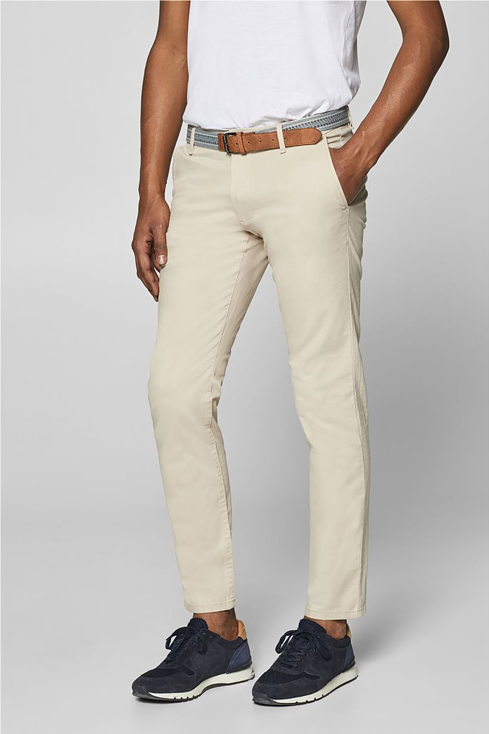 Esprit ανδρικό παντελόνι chino slim με ζώνη (32L) Μπλε Σκούρο 0