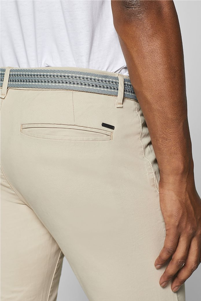 Esprit ανδρικό παντελόνι chino slim με ζώνη (32L) Μπλε Σκούρο 2