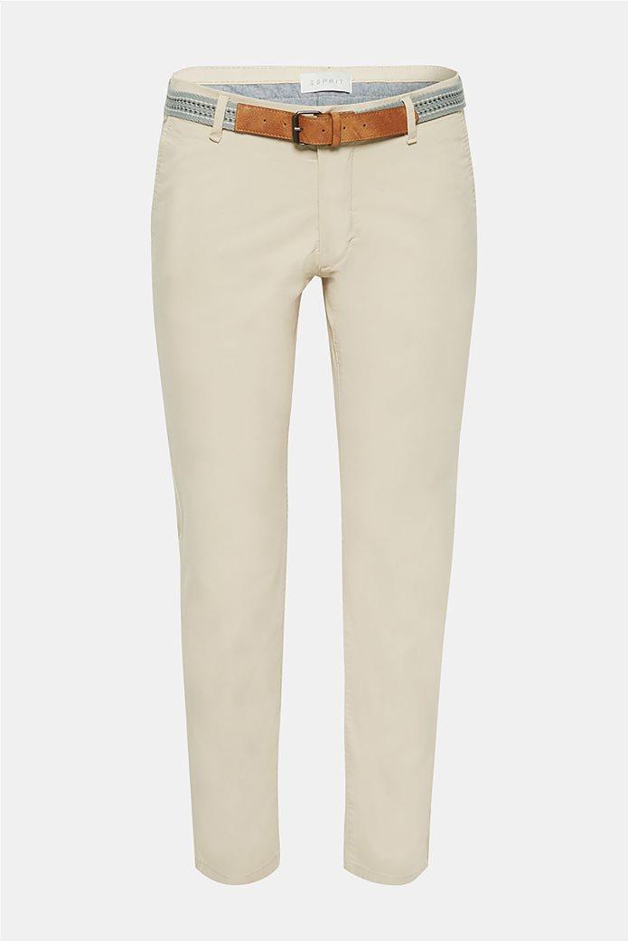 Esprit ανδρικό παντελόνι chino slim με ζώνη (32L) Μπλε Σκούρο 5