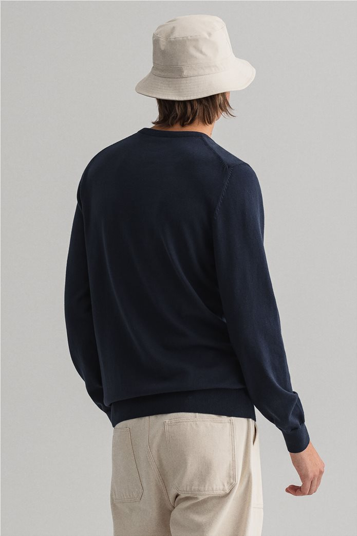 "Gant ανδρική πλεκτή μπλούζα μονόχρωμη με κεντημένο logo ""Contrast"" 2"