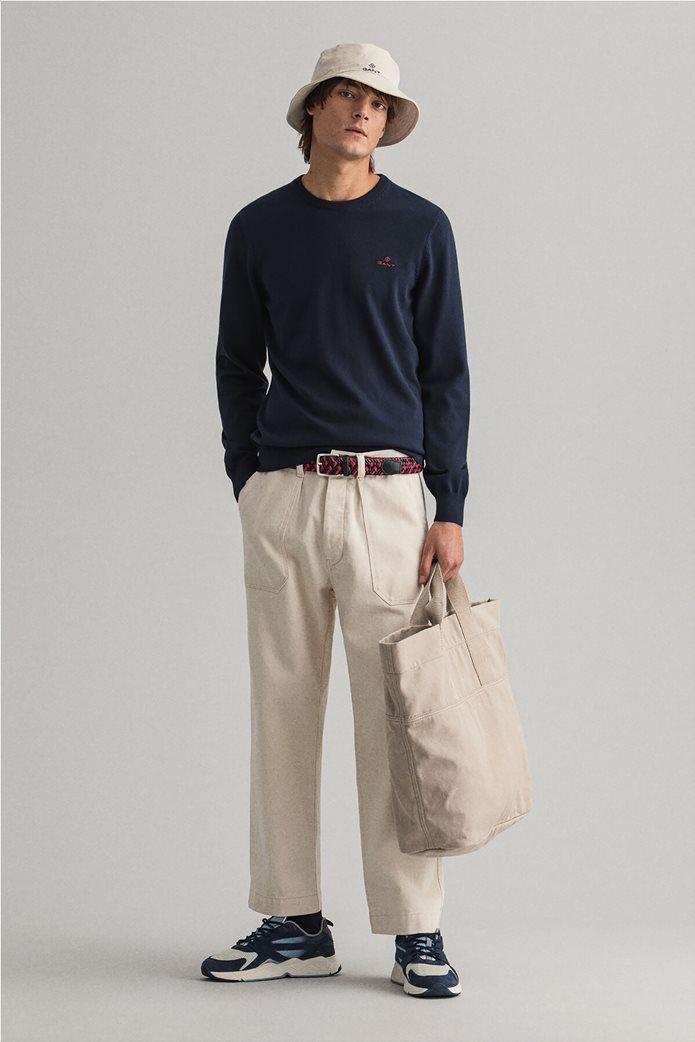 "Gant ανδρική πλεκτή μπλούζα μονόχρωμη με κεντημένο logo ""Contrast"" 3"