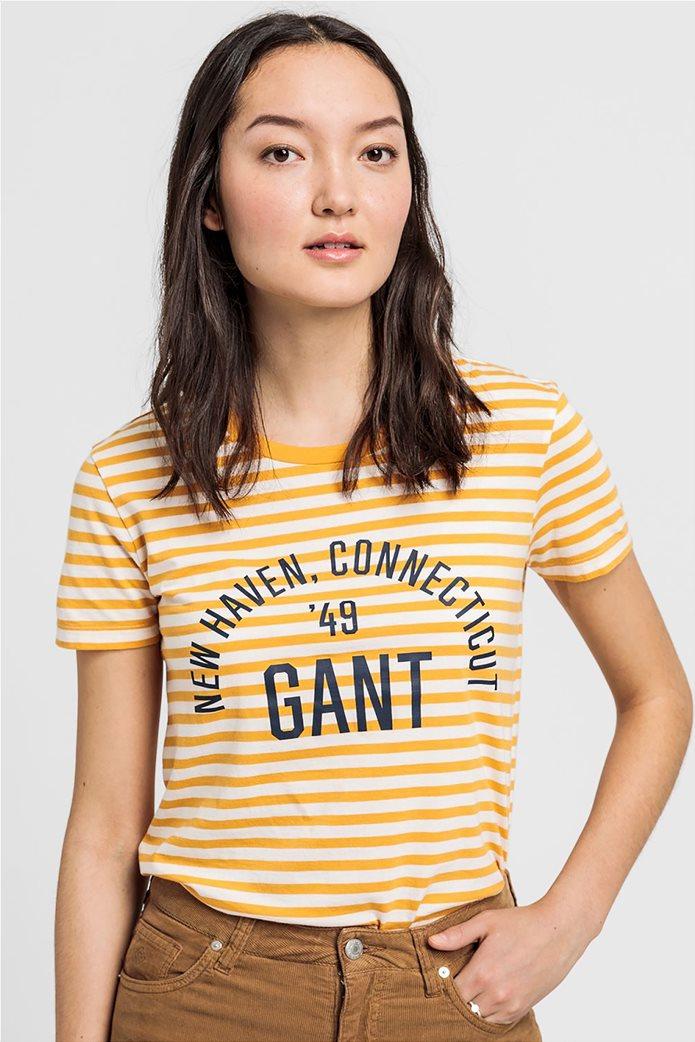 Gant γυναικείο T-shirt με ρίγες και logo letter print 0