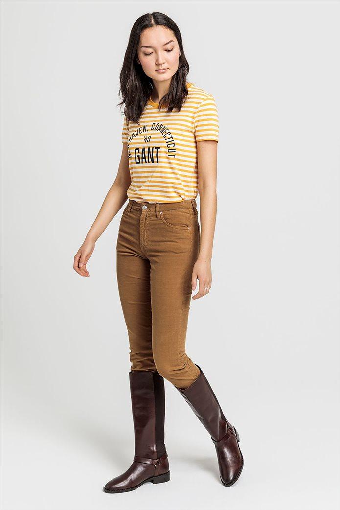 Gant γυναικείο T-shirt με ρίγες και logo letter print 1