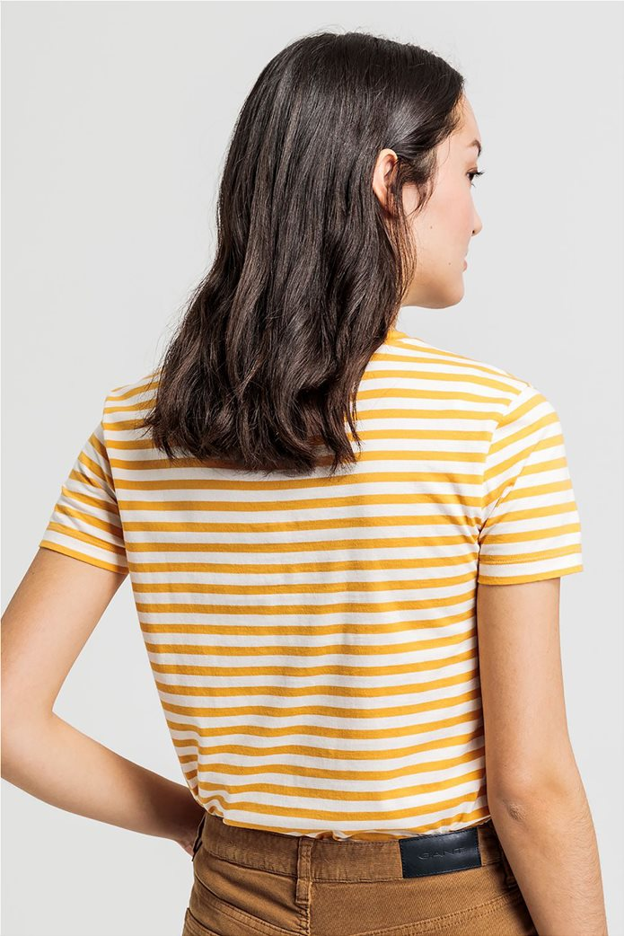 Gant γυναικείο T-shirt με ρίγες και logo letter print 2