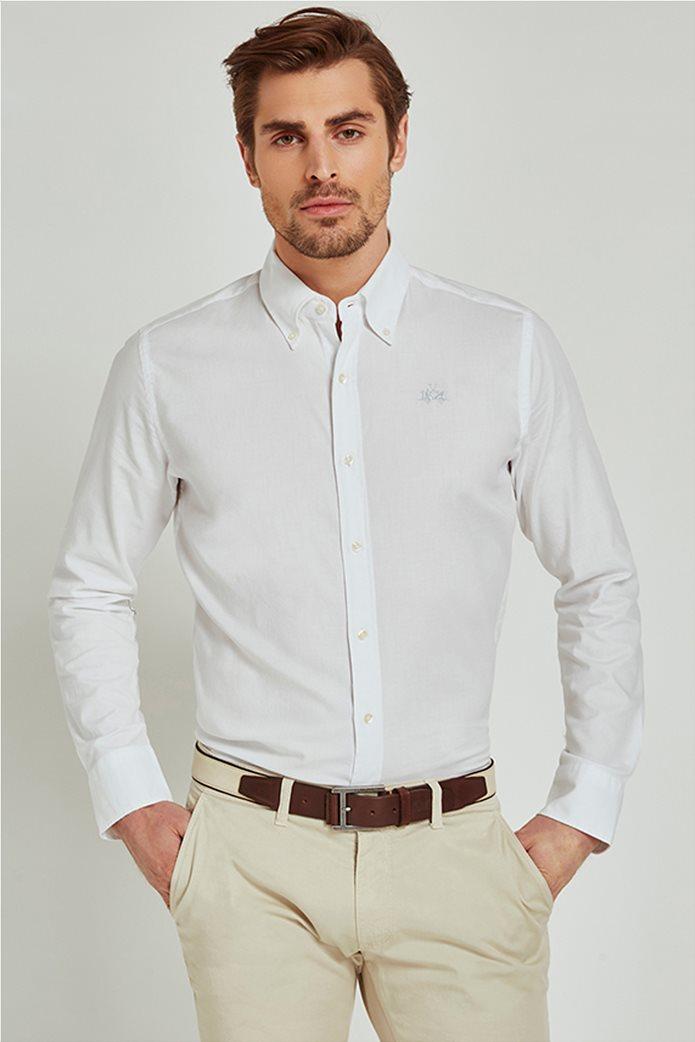 La Martina ανδρικό πουκάμισο με μικρό logo Leon Λευκό 0