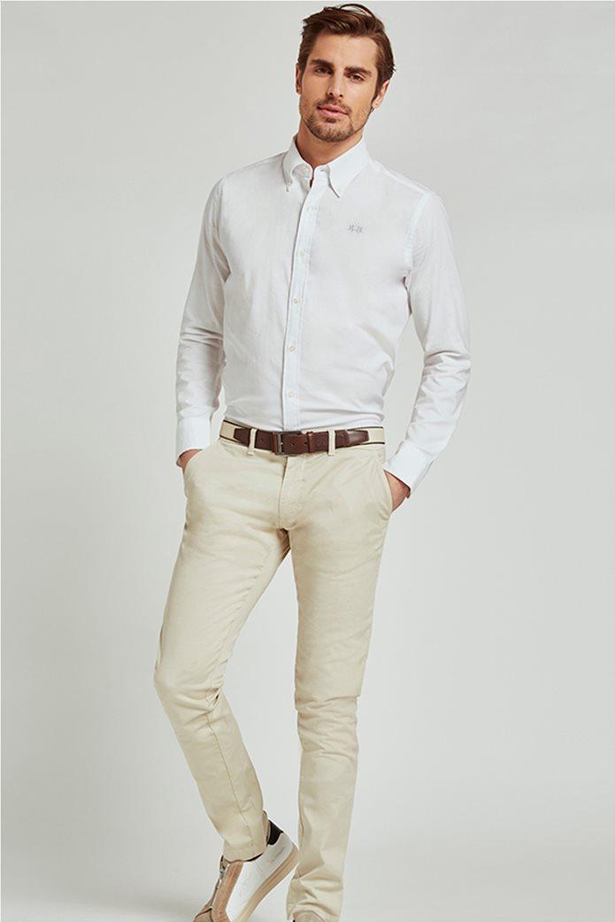 La Martina ανδρικό πουκάμισο με μικρό logo Leon Λευκό 1