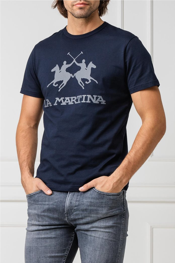 La Martina ανδρικό T-shirt με στάμπα Μπλε Σκούρο 0