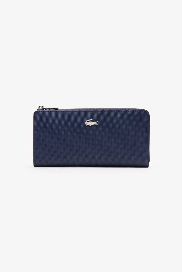 Lacoste γυναικείο πορτοφόλι ''Piqué Canvas 10 Card Zip'' Μπλε Σκούρο 0