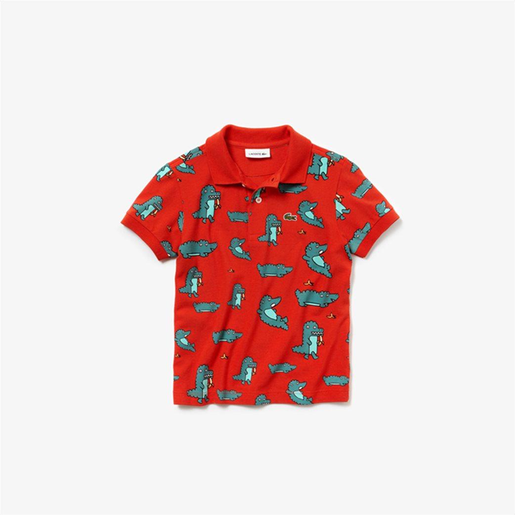 Lacoste παιδική μπλούζα πόλο με print κροκοδειλάκι 2