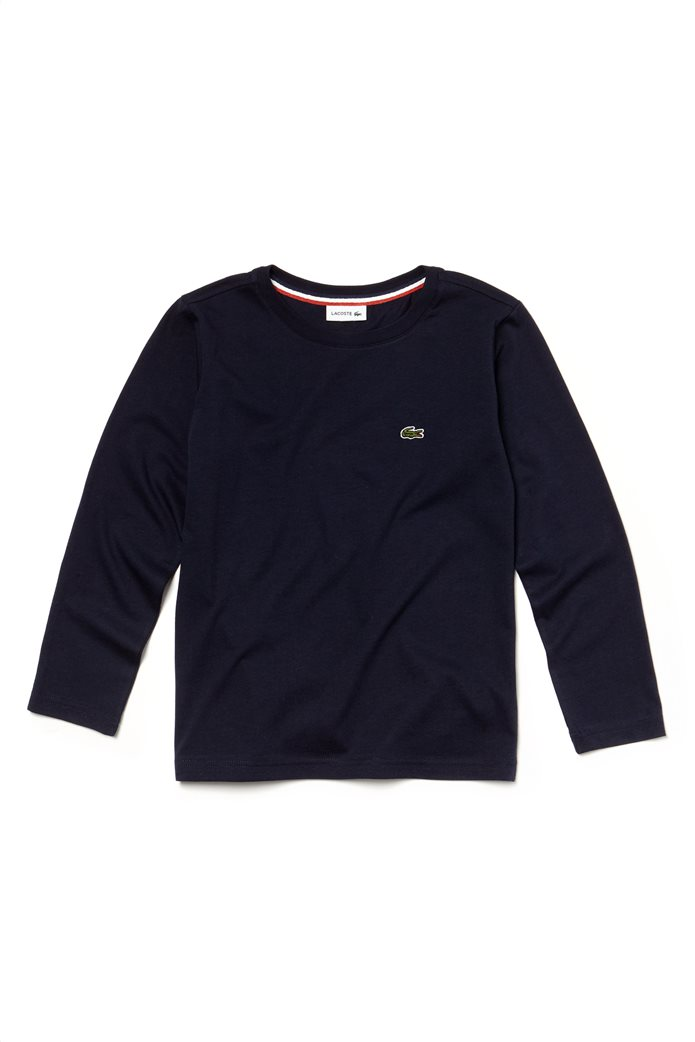 Lacoste παιδική μπλούζαμακρυμάνικη μονόχρωμη Kids Collection Μπλε Σκούρο 0