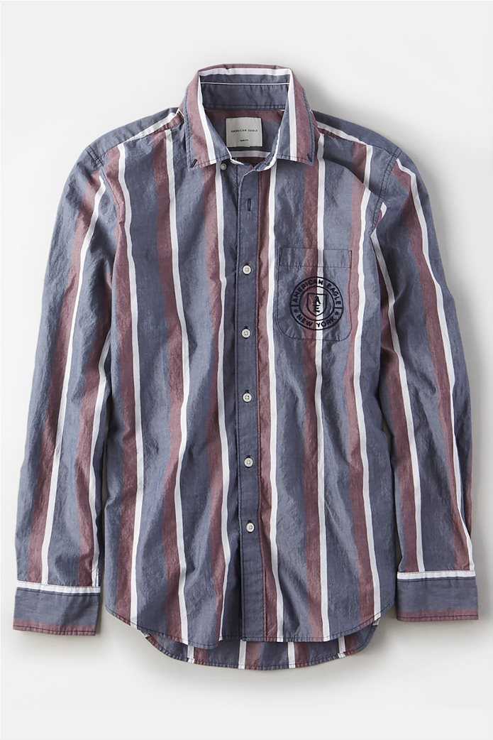 AE Poplin Striped Button Up Shirt Μπλε 0
