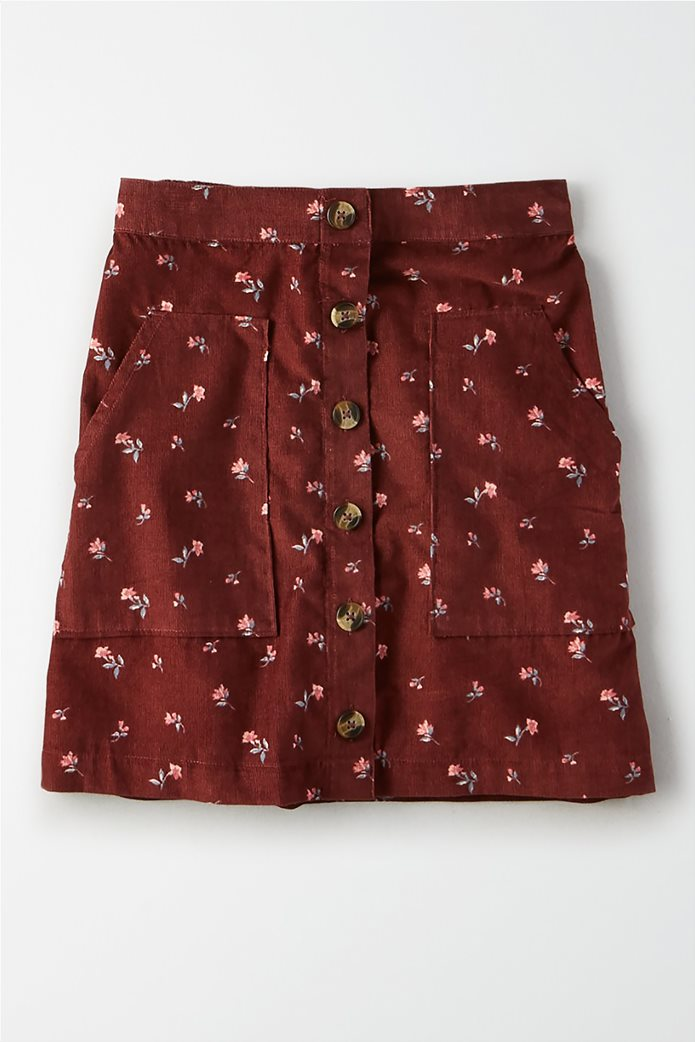 AE High-Waisted Floral Button Front Mini Skirt 0