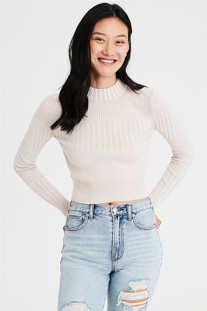 AE Ribbed Mock Neck Pullover Sweater 0