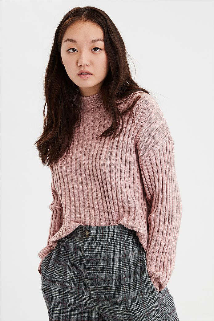 AE Cropped Rib Knit Pullover Sweater 0