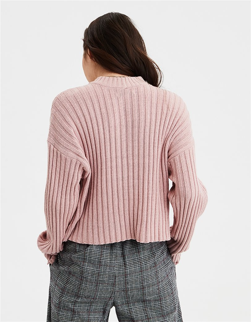 AE Cropped Rib Knit Pullover Sweater 1
