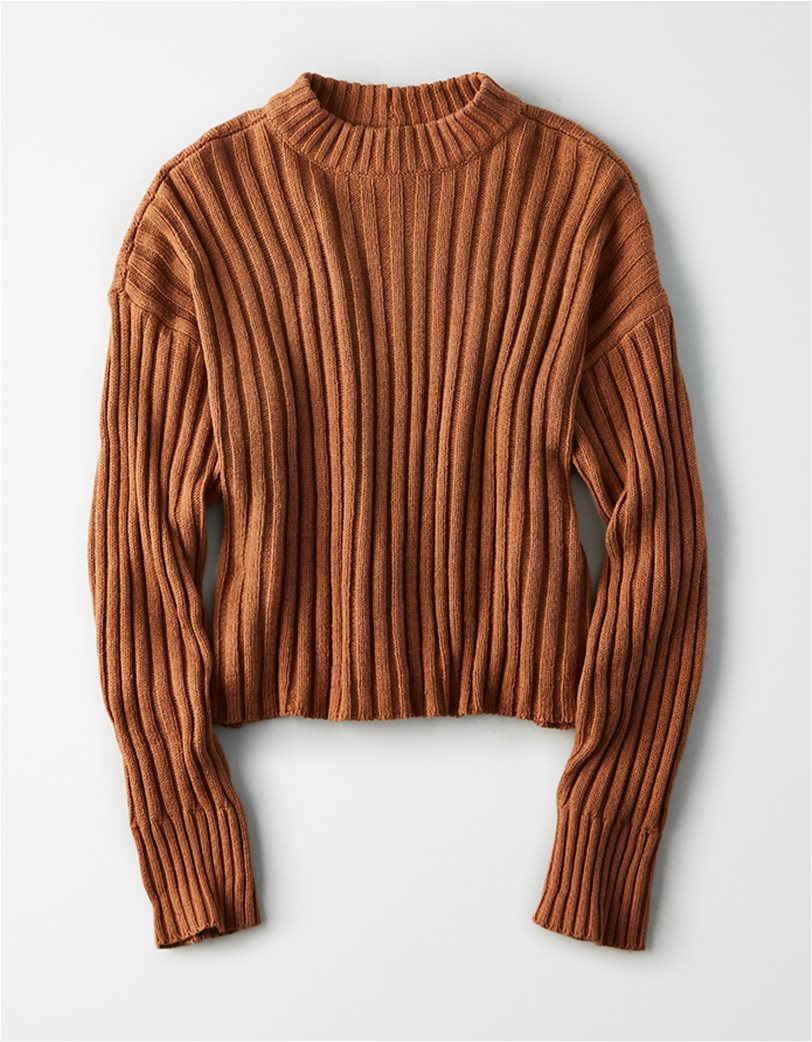 AE Cropped Rib Knit Pullover Sweater 2
