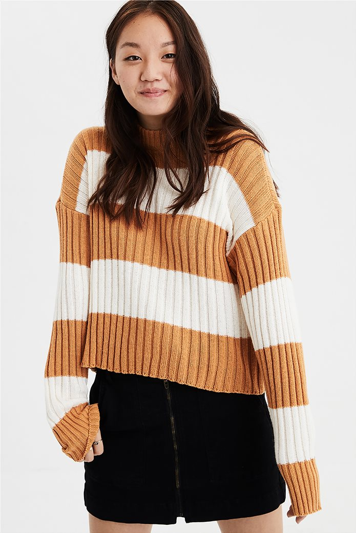 AE Rugby Stripe Rib Knit Pullover Sweater 0
