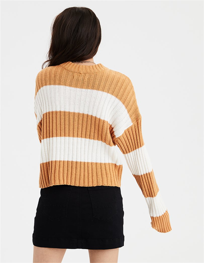 AE Rugby Stripe Rib Knit Pullover Sweater 1