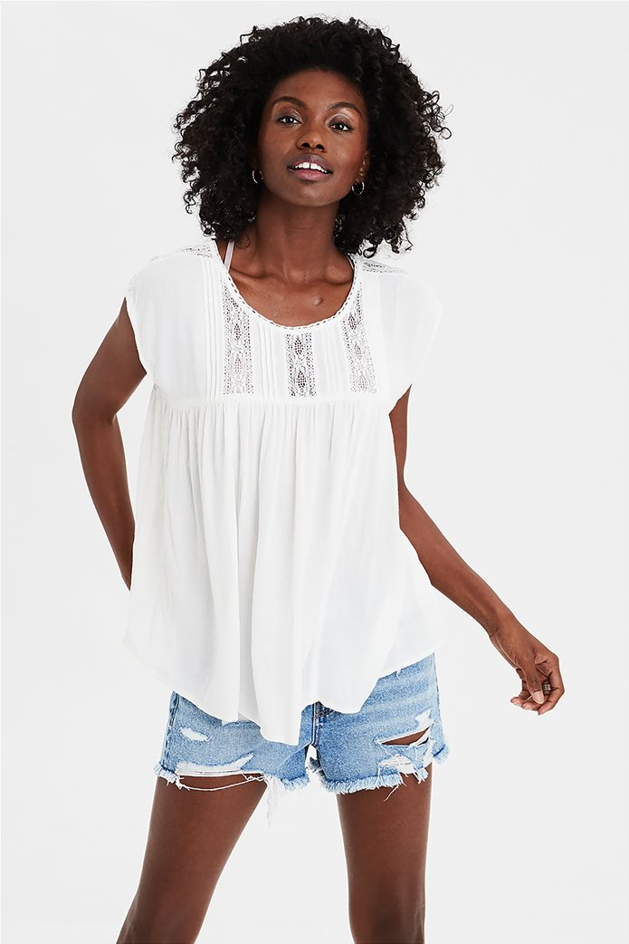 AE Lace Inset Shell Top Λευκό 0