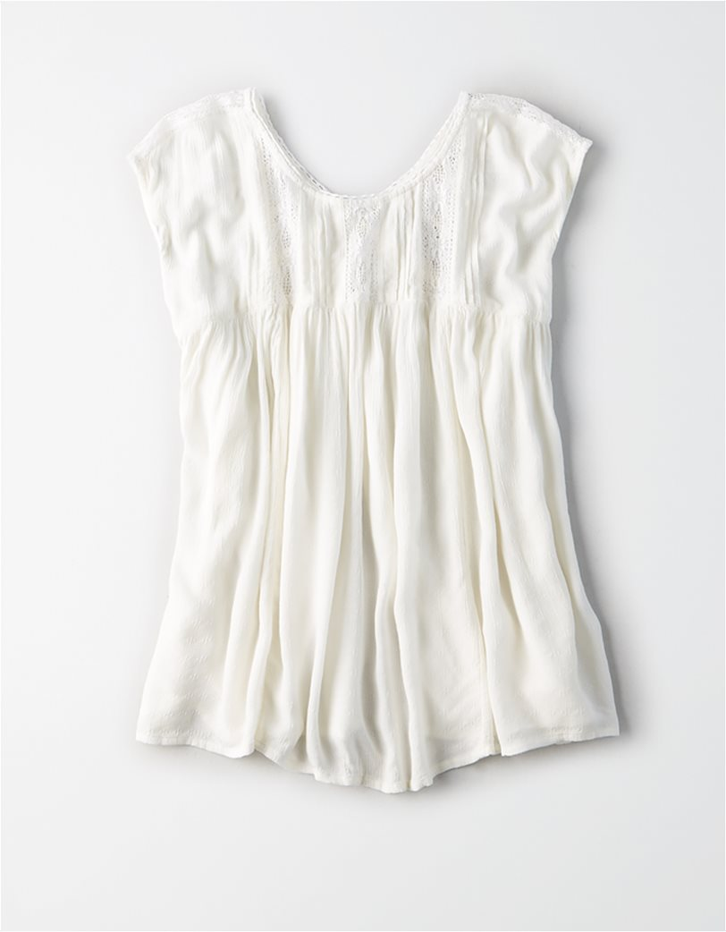 AE Lace Inset Shell Top Λευκό 2
