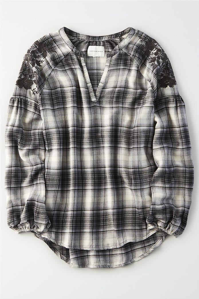 AE Plaid Embroidered Shirt 0