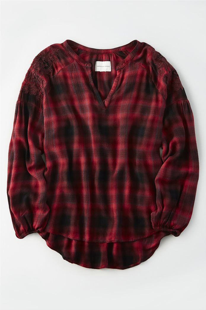 AE Plaid Embroidered Shirt 0