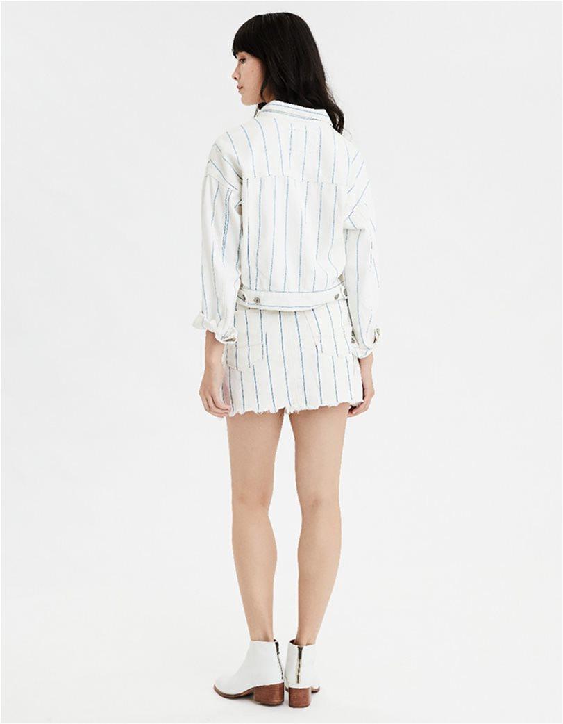 AE Striped Cropped Boyfriend Denim Jacket 1