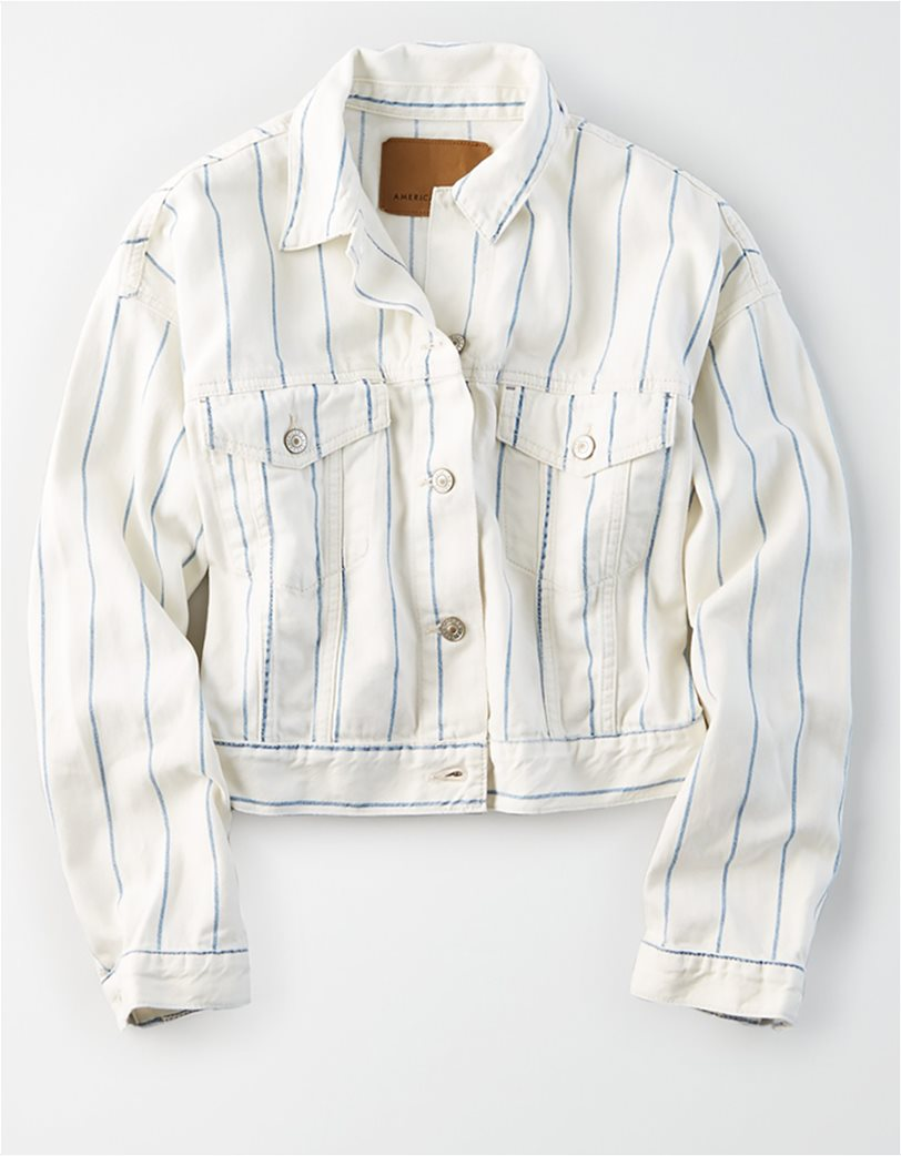 AE Striped Cropped Boyfriend Denim Jacket 2