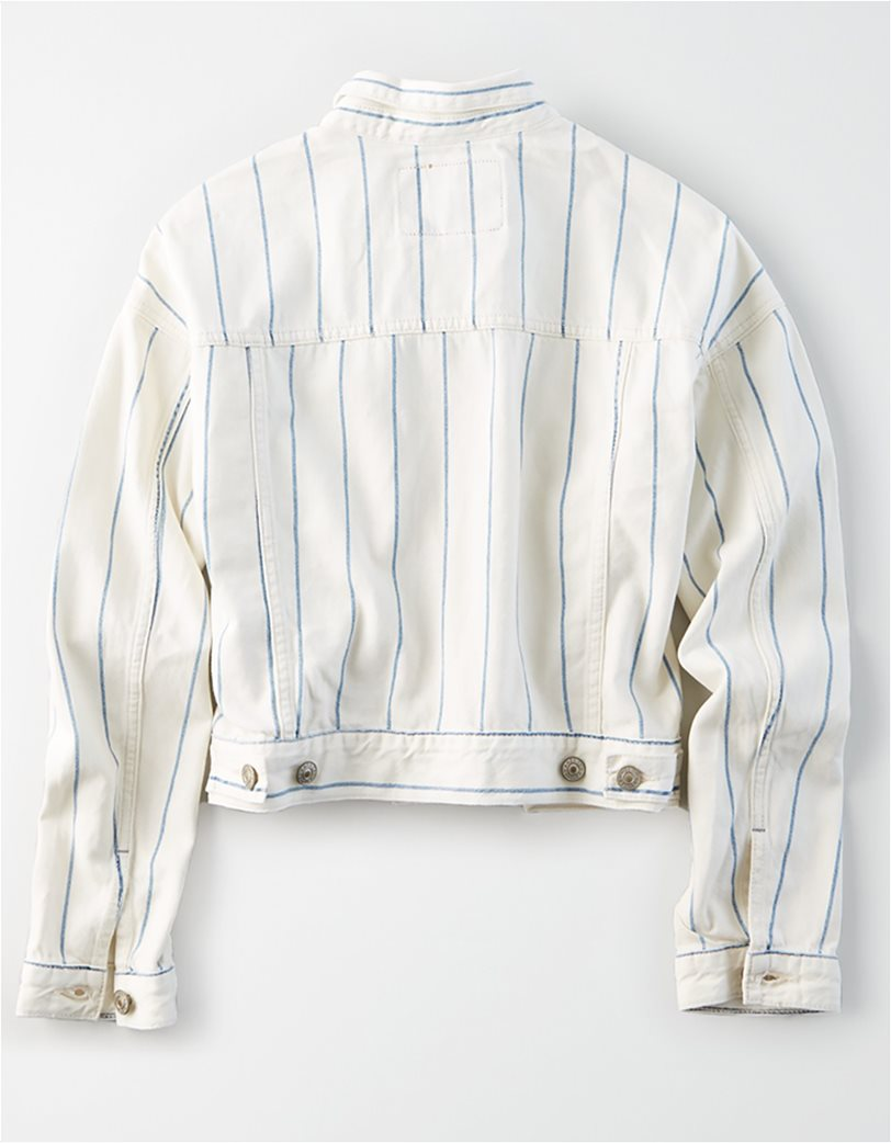 AE Striped Cropped Boyfriend Denim Jacket 3