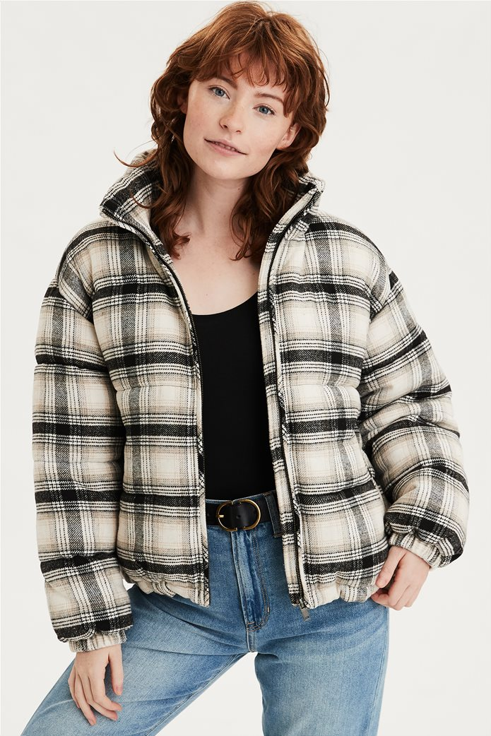 AEO Plaid Wool Puffer Jacket 0