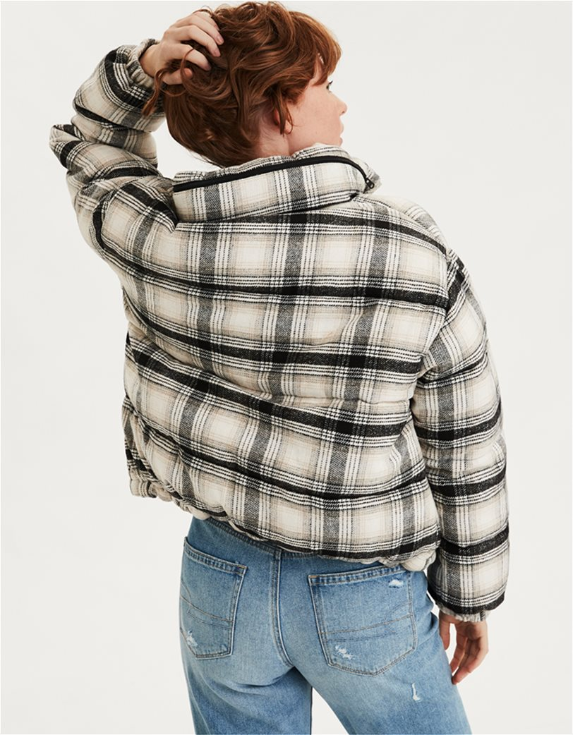 AEO Plaid Wool Puffer Jacket 1