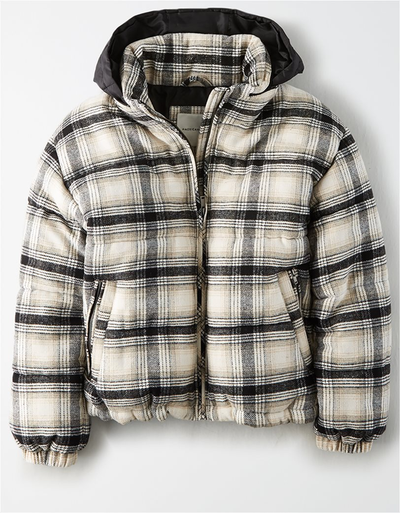 AEO Plaid Wool Puffer Jacket 2