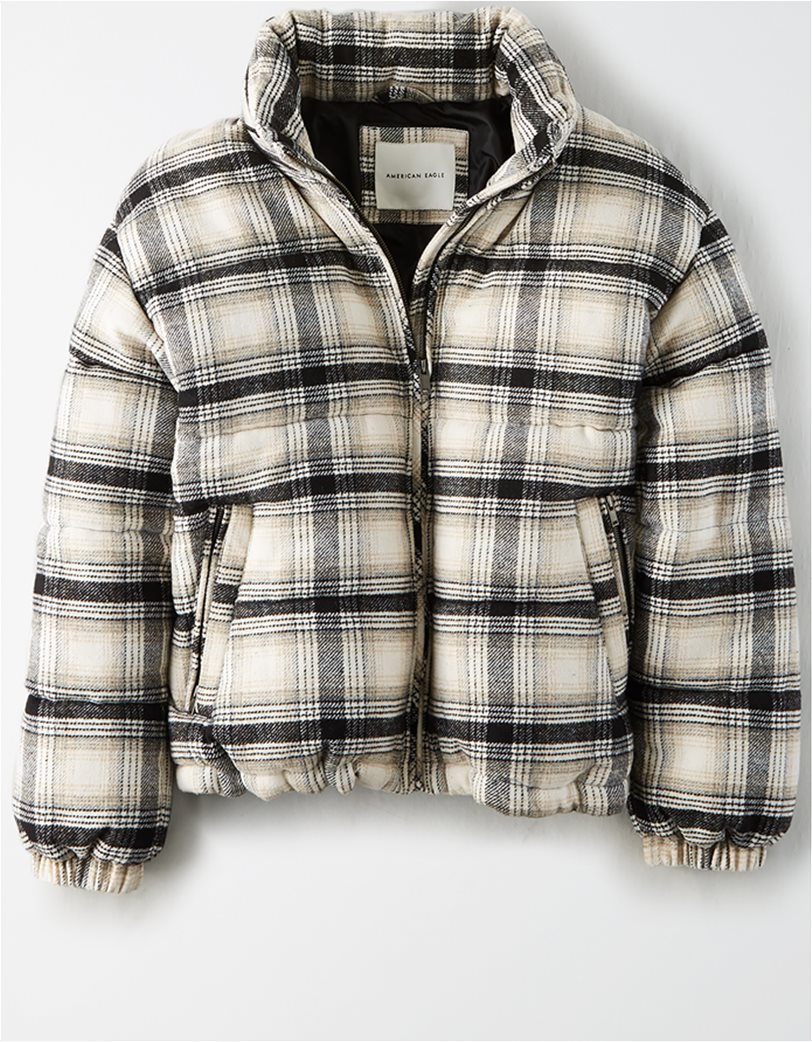 AEO Plaid Wool Puffer Jacket 3