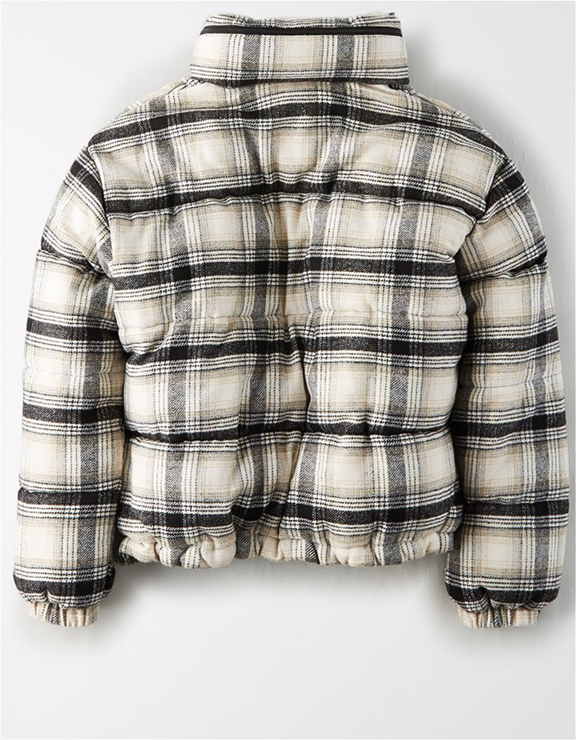 AEO Plaid Wool Puffer Jacket 4