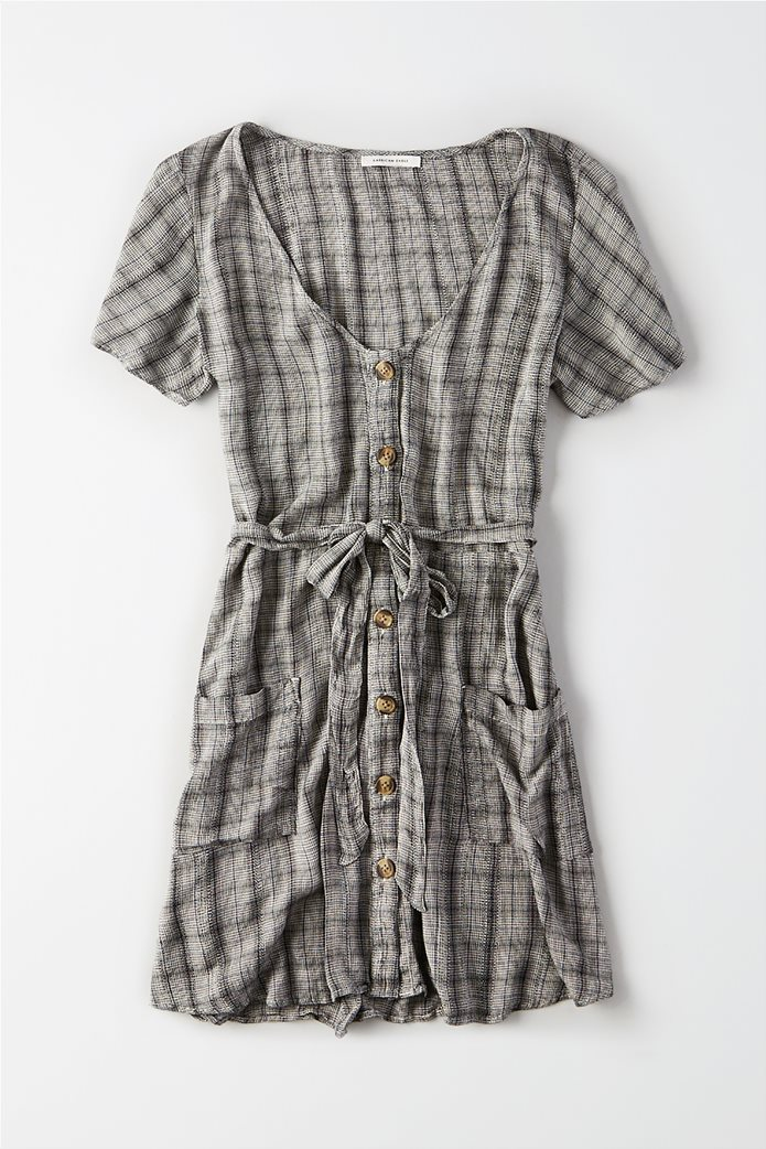 AE Plaid Fit & Flare Button Up Dress Γκρι 0