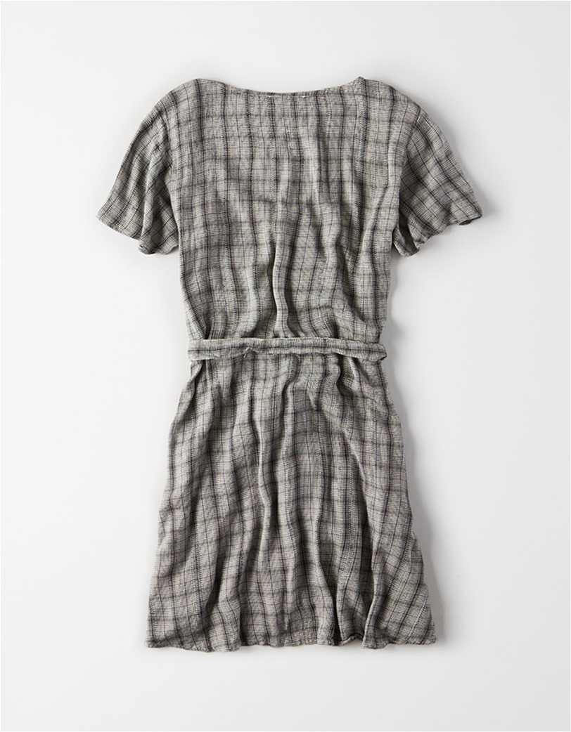 AE Plaid Fit & Flare Button Up Dress Γκρι 1