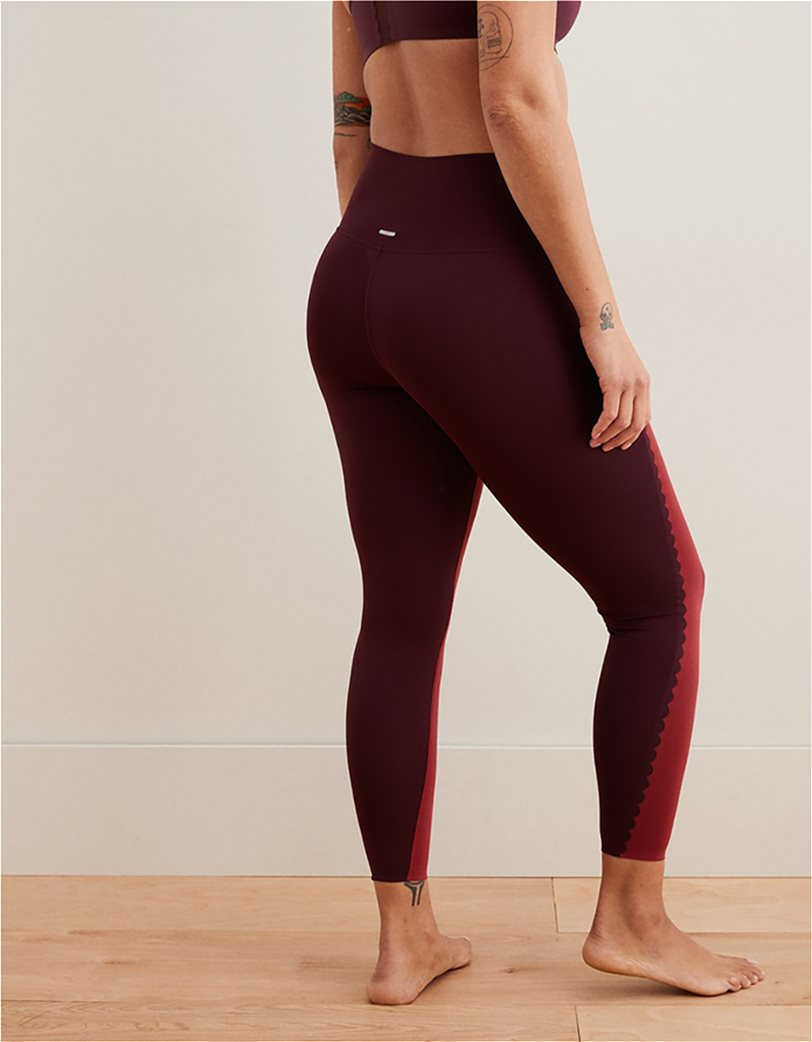 Aerie Play Scallop High Waisted 7/8 Legging Μπορντό 1