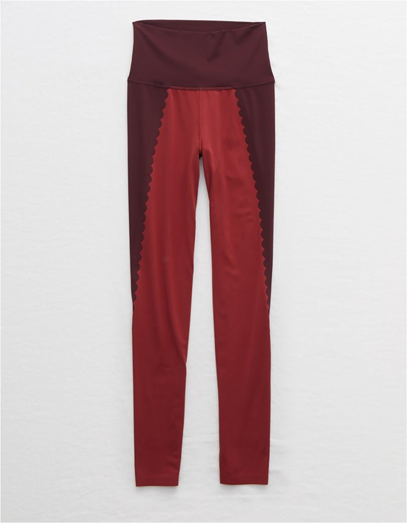 Aerie Play Scallop High Waisted 7/8 Legging Μπορντό 2