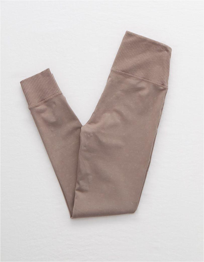 Aerie Chill Ribbed Pocket Legging Καφέ 4