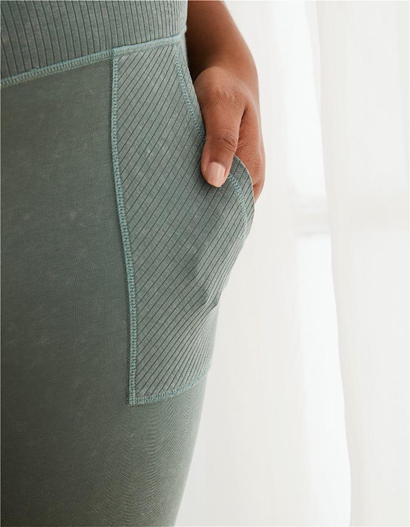 Aerie Chill Ribbed Pocket Legging Χακί 2