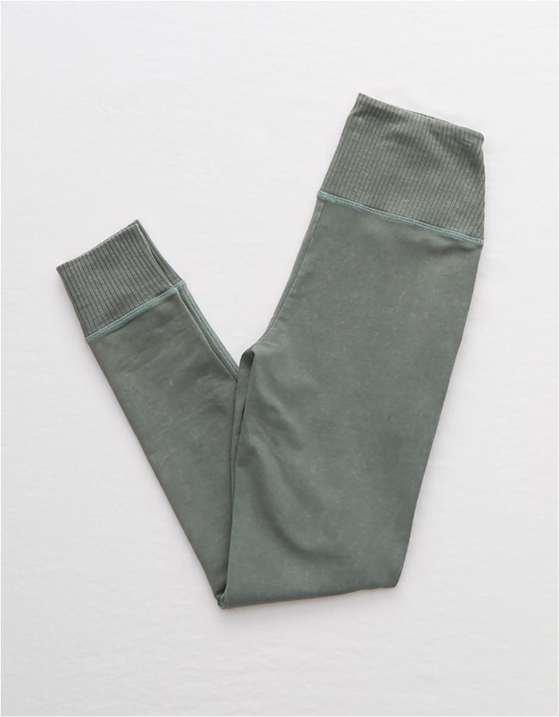 Aerie Chill Ribbed Pocket Legging Χακί 4