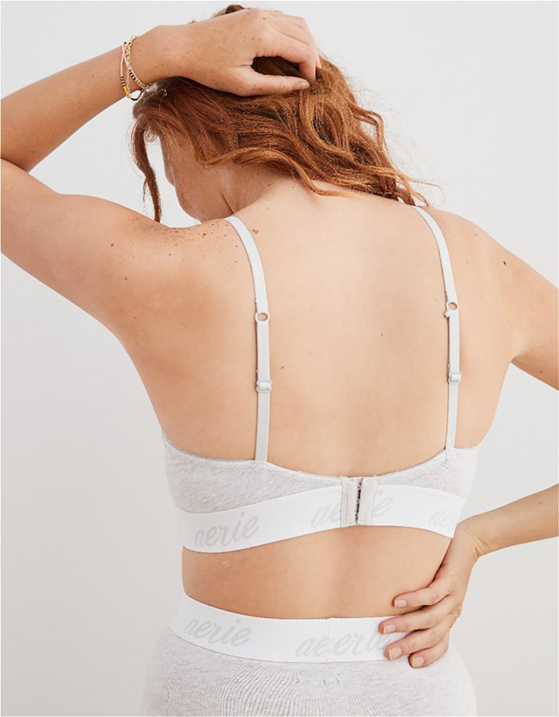 Aerie Real Happy Demi Lightly Lined Bra Γκρι 1