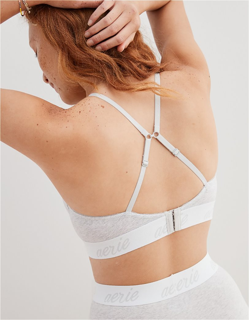 Aerie Real Happy Demi Lightly Lined Bra Γκρι 2