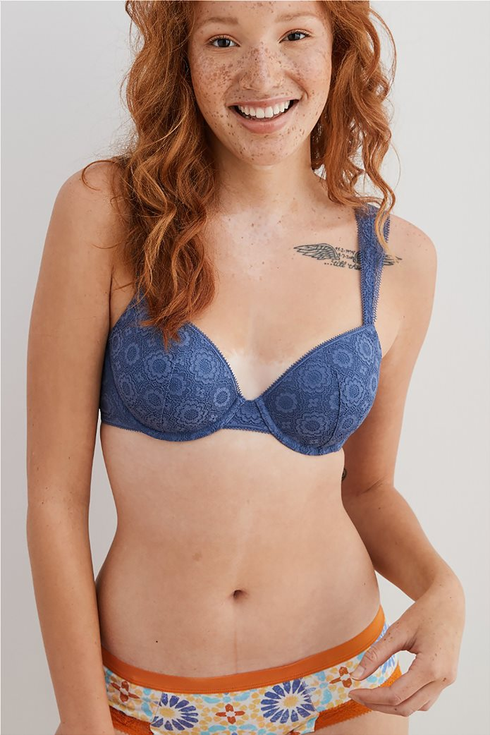Aerie Real Happy Lightly Lined Bra Μπλε 0