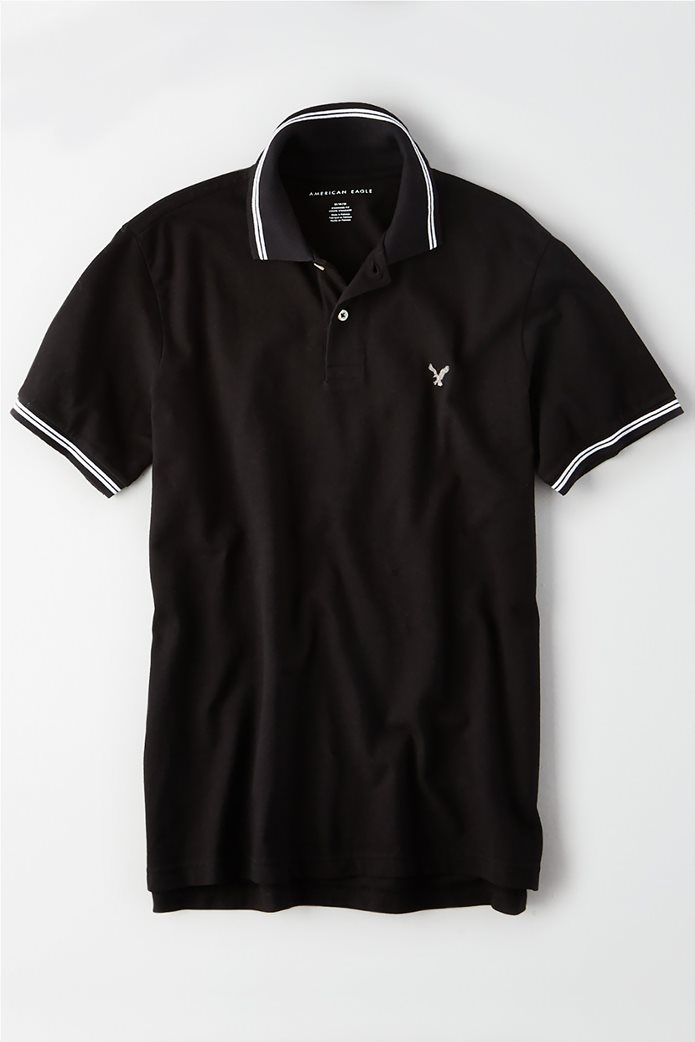 AE Logo Pique Tipped Striped Polo Shirt 0