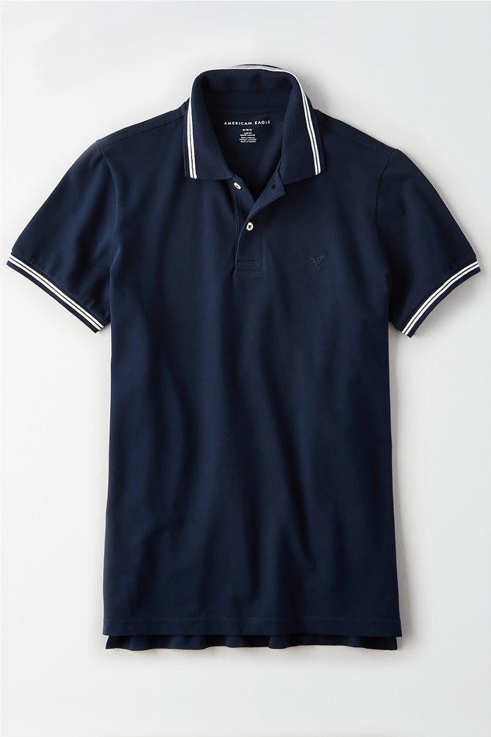AE Logo Pique Tipped Striped Polo Shirt 0
