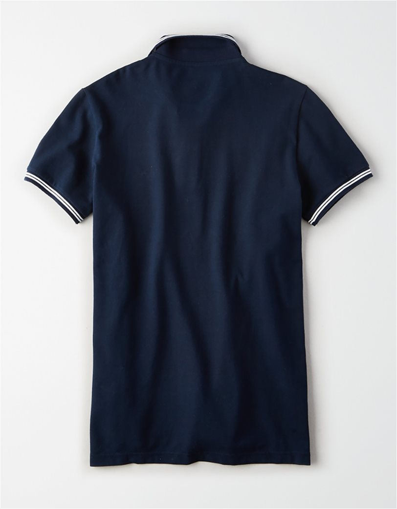 AE Logo Pique Tipped Striped Polo Shirt 1