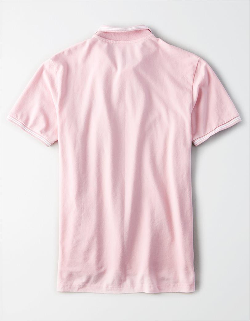 AE Logo Pique Tipped Polo Shirt Ροζ 1