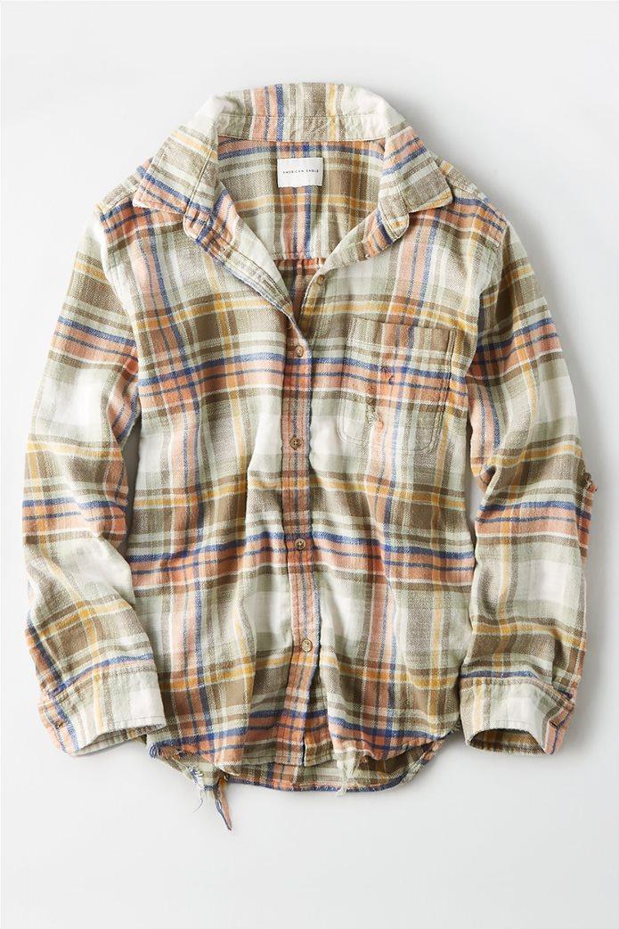 AE Plaid Oversized Button Down Shirt Χακί 0