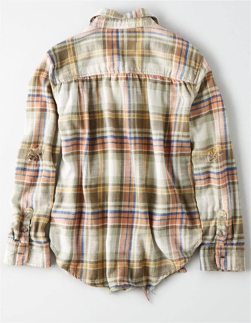 AE Plaid Oversized Button Down Shirt Χακί 1